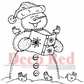 Deep Red Cling Stamp - Snowman Caroling