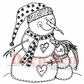 Deep Red Cling Stamp - Snowman Hugs