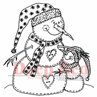 Deep Red Stamp - Snowman Hugs