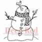 Deep Red Cling Stamp - Snowman w/Birds
