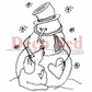 Deep Red Cling Stamp - Snowman W/Dog