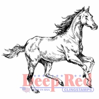 Deep Red Cling Stamp - Spirited Horse
