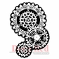 Deep Red Cling Stamp - Steampunk Gears