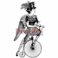 Deep Red Cling Stamp - Steampunk Lady Cyclist