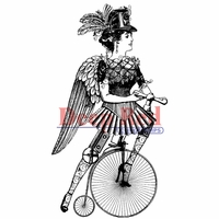 Deep Red Stamp - Steampunk Lady Cyclist