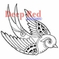 Deep Red Cling Stamp - Steampunk Sparrow