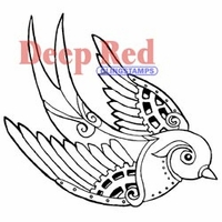 Deep Red Stamp - Steampunk Sparrow