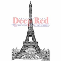 Deep Red Cling Stamp - Vintage Paris Eiffel Tower