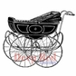 Deep Red Cling Stamp - Vintage Pram