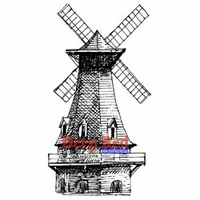 Deep Red Stamp - Windmill