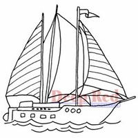 Deep Red Stamps - Sailboat