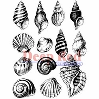 Deep Red Stamps - Seashell