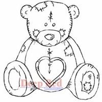 Deep Red Stamps - Teddy Bear Love