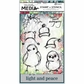 Dina Wakley Media Stamp & Stencil Set - Scribbly Holiday Birdies