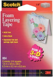"Double Stick Foam 3-D Layering Tape/Squares - 1/14"" - Click to enlarge"