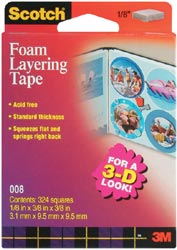 "Double Stick Foam 3-D Layering Tape/Squares - 1/8"" - Click to enlarge"