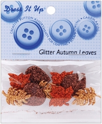 Dress It Up Embellishments - Glitter Autumn Leaves - Click to enlarge
