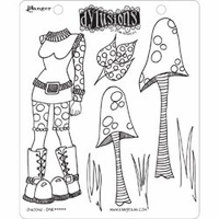 Dylusions by Dyan Reaveley Cling Stamps - Shrooms