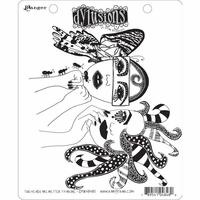 Dylusions by Dyan Reaveley Cling Stamps - Two Heads Are Better Than One