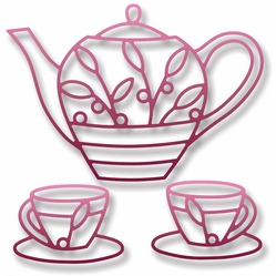 Elizabeth Craft Metal Die - Teapot & Cups - Click to enlarge