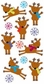 Essentials Large Dimensional Stickers - Reindeers & Snowflakes