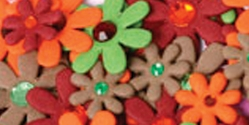 Flora Doodles Mini Jeweled Paper Flowers - Green/Brown/Orange/Burgundy - Click to enlarge