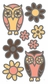 Glitter Outline Dimensional Stickers - Owls & Flowers