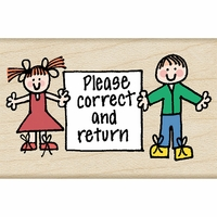 "Hero Arts Mounted Rubber Stamp 1.5""x1.75"" - Hero Kids Correct & Return"