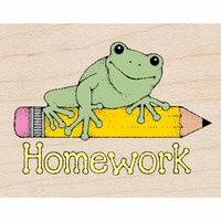 "Hero Arts Mounted Rubber Stamp 1.5""x1.75"" - Homework Frog"