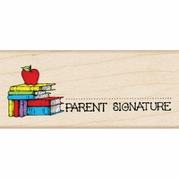 "Hero Arts Mounted Rubber Stamp 1.5""x1.75"" - Parent Signature With Apple"