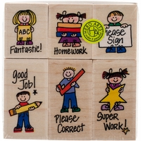"Hero Arts Mounted Rubber Stamp Set 3.5""x4"" - Big 'n' Little Hero Kids For Teachers"