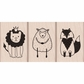 Hero Arts Mounted Rubber Stamp Set - Cute Animal Trio