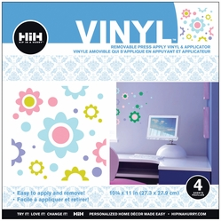 Hip In A Hurry Vinyl Paint Rub-Ons - Pastel Flower - Click to enlarge