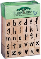 Image Tree Rubber Stamp Set - Brush Letters Alphabet/Lower Case