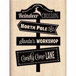 Inkadinkado Christmas Mounted Rubber Stamp - Reindeer Crossing - Click to enlarge