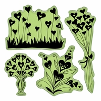 Inkadinkado Valentine Cling Stamps - Hearts Shapes Flowers