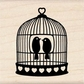 Inkadinkado Wood Mounted Rubber Stamp - Heart Bird Cage.