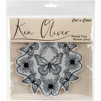 Ken Oliver Cut 'n Color Cling Stamp - Butterfly Daisy Mandala