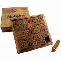 Kraft Wood Alphabet Stamps - Lower Case