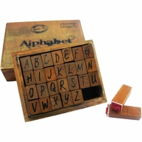 Kraft Wood Alphabet Stamps - Upper Case