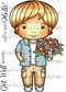 La-La Land Cling Mount Rubber Stamp - Luka With Flowers