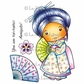 La-La Land Cling Mount Rubber Stamps - Kimono Marci With Fan