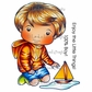 La-La Land Cling Mount Rubber Stamps - Luka With Sailboat