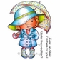 La-La Land Cling Mount Rubber Stamps - Marci With Umbrella