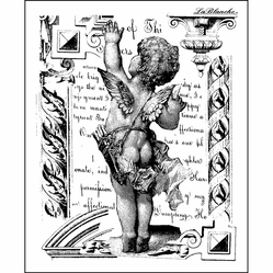 "LaBlanche Silicone Stamp 3.5""x4"" - Waving Cherub - Click to enlarge"