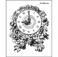 """LaBlanche Silicone Stamp 3""""x4"""" - Floral Clock"""