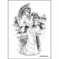 """LaBlanche Silicone Stamp 4""""x3"""" - Lady With Parasol"""