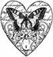 Magenta Cling Stamps - Swallowtail Heart