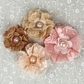 Merci Lace Fabric Flowers - Peach w/Pearls