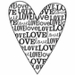 "Mounted Rubber Stamp 2.5""x2"" - Love Type Heart"
